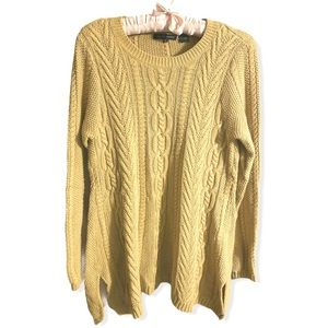 Jeanne Pierre mustard yellow cable knit sweater